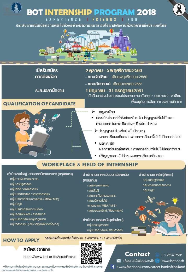 ธนาคารแห่งประเทศไทย (ธปท.) เปิดรับสมัครนักศึกษาฝึกงานประจำปี 2561 ธปท. ข้อมูลเพิ่มเติม (เอกสารแนบ) ver ตปท ประกาศรับนักศึกษาฝึกงาน […]